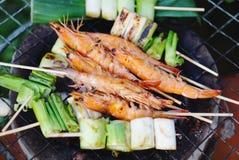 Grilled prawns stick Stock Photo