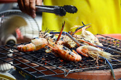 Grilled prawns on Stove Stock Photo