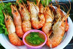 `Grilled Prawns` Street Food In Thailand royalty free stock images