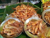 Grilled prawns. At thai street market Royalty Free Stock Photo