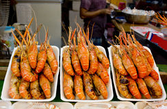 Grilled prawns in Thailand market Royalty Free Stock Images