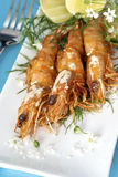 Grilled Prawns on a White Platter Stock Images