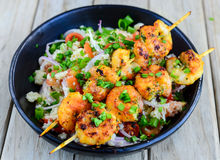 Grilled Prawns With Couscous Salad Stock Image
