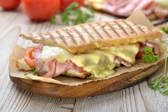 Hot Italian sandwich fresh from the oven royalty free stock image