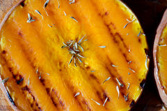 Grilled pumpkin royalty free stock images
