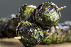 Grilled Purple Brussels Sprout Kabobson Skewers Stock Image