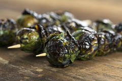 Grilled Purple Brussels Sprouts Kabobson Skewers. Three grilled organic purple Brussels sprouts on skewers set on wood Royalty Free Stock Images