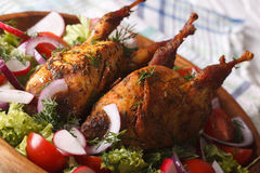 Grilled quail and salad of fresh vegetables close-up. horizontal. Grilled quail and salad of fresh vegetables close-up on a plate. horizontal Royalty Free Stock Photo