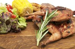 Grilled quail and vegetables Royalty Free Stock Photos