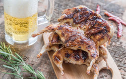 Grilled quails with glass of beer. And bunch of fresh rosemary Stock Photography
