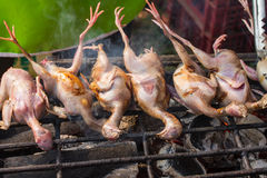 Grilled quails on local market Stock Photo