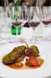 Grilled rack of lamb, english style dish Royalty Free Stock Image