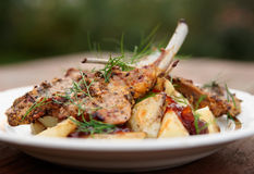 Grilled rack of lamb with fried potatoes and onion chutnee Royalty Free Stock Images