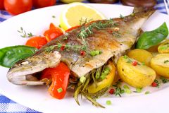 Grilled rainbow trout with potato, red pepper and lemon Royalty Free Stock Photos