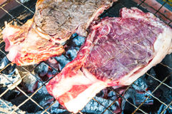 Grilled raw beef on the grating Royalty Free Stock Photo