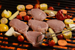 Grilled raw meat /steak with vegetable Royalty Free Stock Photography