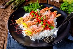 Grilled Red Argentine Shrimps With Red Salsa And Green Asparagus Royalty Free Stock Images