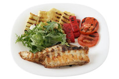Grilled red-fish with vegetables Royalty Free Stock Images