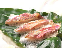 Grilled red mullet fillets on a bed of coarse salt Stock Photos