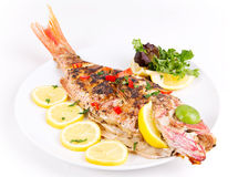 Grilled red snapper with lemon Royalty Free Stock Photography