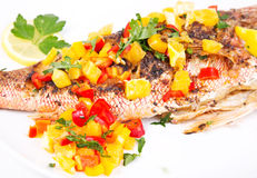 Grilled red snapper with vegetables Stock Photos
