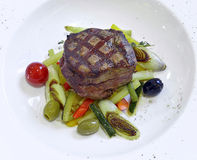 Grilled rib-eye steak with ratatouille Stock Photo