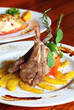 Grilled rib lamb black pepper with souse Stock Image
