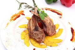 Grilled rib lamb black pepper with souse Stock Photos