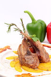 Grilled rib lamb black pepper with souse Royalty Free Stock Photography