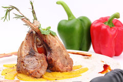 Grilled rib lamb black pepper with souse Royalty Free Stock Photos