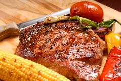 Grilled ribeye steak stock photo