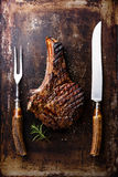 Grilled Ribeye Steak on bone royalty free stock photography