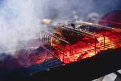 Grilled ribs in a grid. Grilled ribs in grilled hot stones with smoke Royalty Free Stock Photography