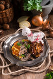 Grilled ribs with potato pancakes Royalty Free Stock Photo