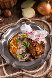 Grilled ribs with potato pancakes Stock Images