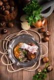 Grilled ribs with potato pancakes Stock Photos