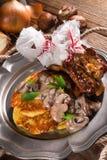 Grilled ribs with potato pancakes Stock Photo