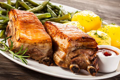 Grilled Ribs, Potatoes And Green Bean Royalty Free Stock Photography