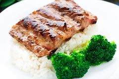 Grilled ribs with rice and broccoli Stock Image
