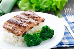 Grilled ribs with rice and broccoli Royalty Free Stock Photos