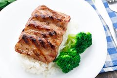 Grilled ribs with rice and broccoli Royalty Free Stock Images