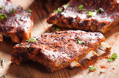 Grilled ribs seasoned with hot spices royalty free stock images