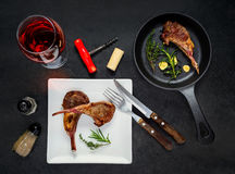 Grilled Ribs Steak with Glass Wine Stock Image