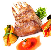 Grilled ribs with vegetables Royalty Free Stock Photo