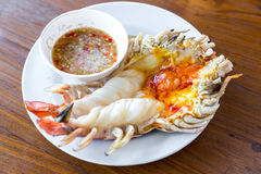 Grilled river prawn Royalty Free Stock Images