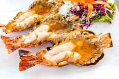 Grilled River prawn stock photos