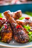 Grilled roasted and barbecue chicken legs on white plate. Grilled roasted and barbecue chicken legs on white plate with herb decoration stock photo