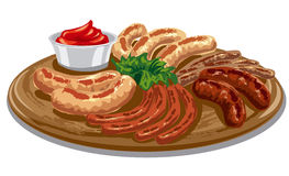 Grilled roasted sausages. Various grilled roasted sausages with tomato sauce on wood board Stock Images