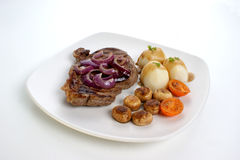 Grilled rump steak and bacon with potato Stock Images