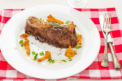 Grilled rump steak with chanterelle mushrooms Stock Photos